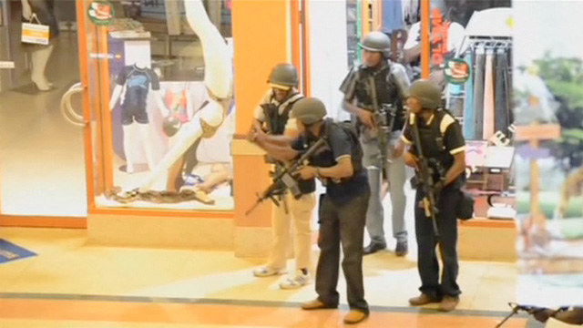 Soldiers inside Westgate mall, Nairobi