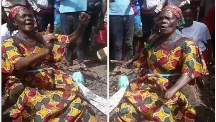 Drama as Abeny Jachiga's Mum sit on her son's grave to stop exhumation of his body.